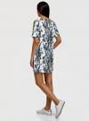 Платье из фактурной ткани прямого силуэта oodji #SECTION_NAME# (белый), 24001110-3/42316/3070F - вид 3