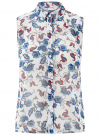 Топ из струящейся ткани с рубашечным воротником oodji для женщины (слоновая кость), 14903001B/42816/1275E