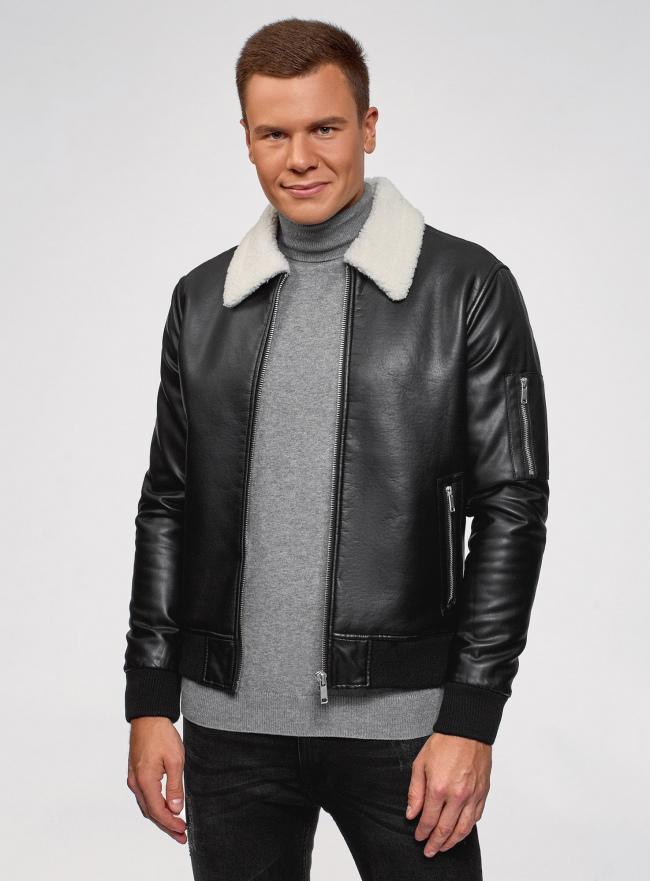 Куртка из искусственной кожи на молнии oodji #SECTION_NAME# (черный), 1L511061M/48591N/2900N