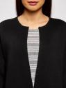 Жакет вязаный с контрастными отворотами без застежки oodji для женщины (черный), 63212588/47063/2923B