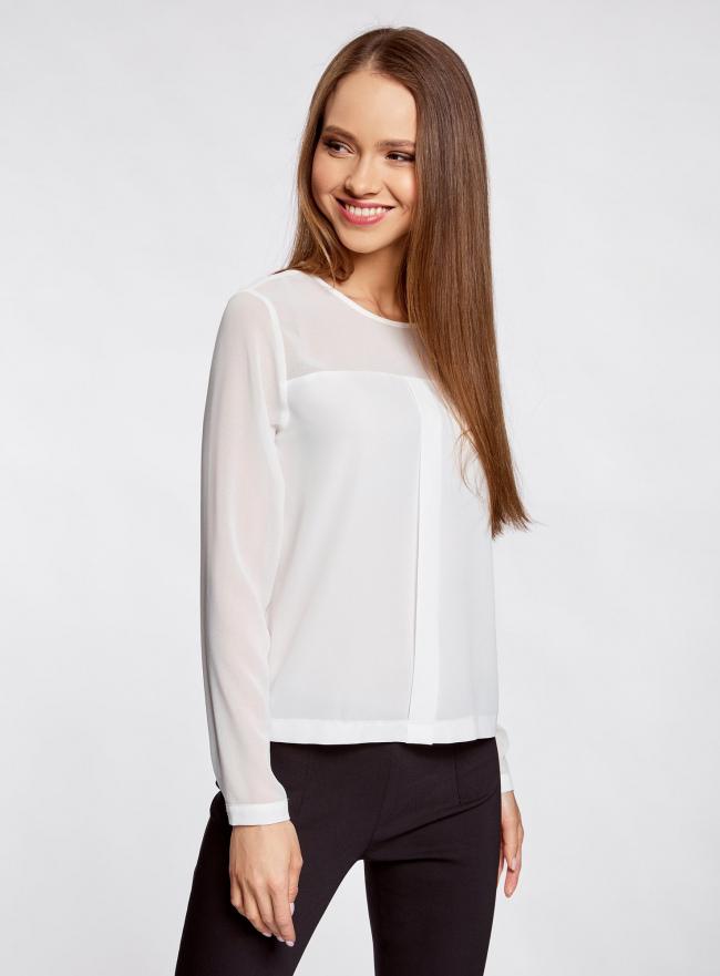 Блузка из шифона с длинным рукавом oodji для женщины (белый), 11411078/32823/1200N