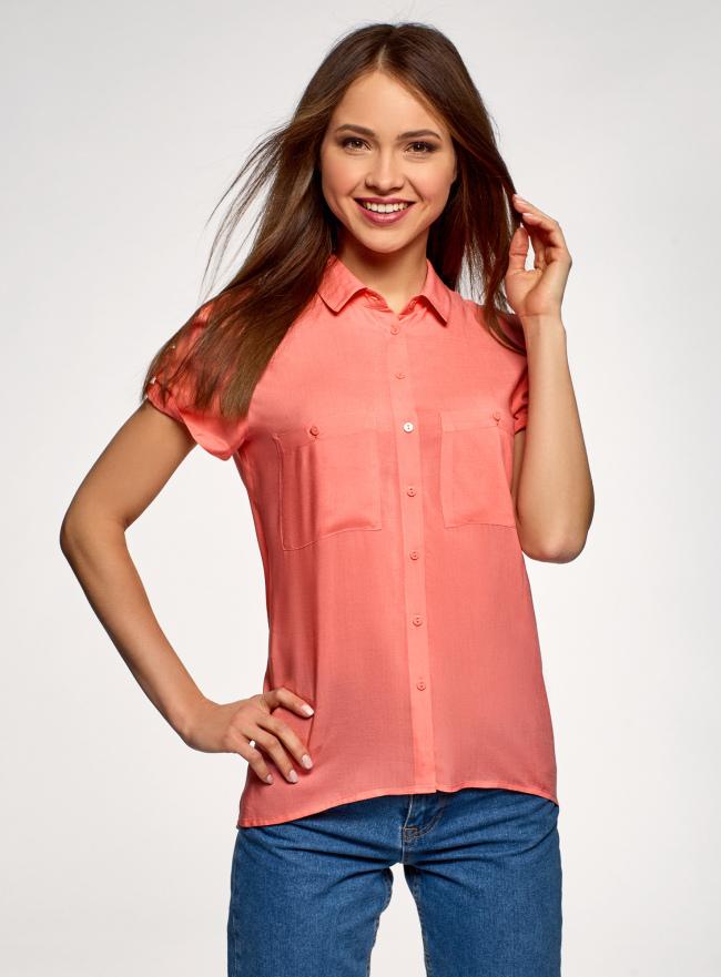 Блузка с короткими рукавами и карманами на пуговицах oodji для женщины (красный), 11400391-2B/24681/4300N