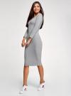 Платье облегающее с вырезом-лодочкой oodji для женщины (серый), 14017001-6B/47420/2000M - вид 6