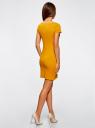 Платье трикотажное с вырезом-лодочкой oodji #SECTION_NAME# (желтый), 14001117-2B/16564/5200N - вид 3