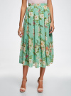 Юбка в складку из струящейся ткани oodji для женщины (бирюзовый), 23G00009B/17358/7341F - вид 2