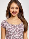 Платье хлопковое со сборками на груди oodji #SECTION_NAME# (розовый), 11902047-2B/14885/4049E - вид 4