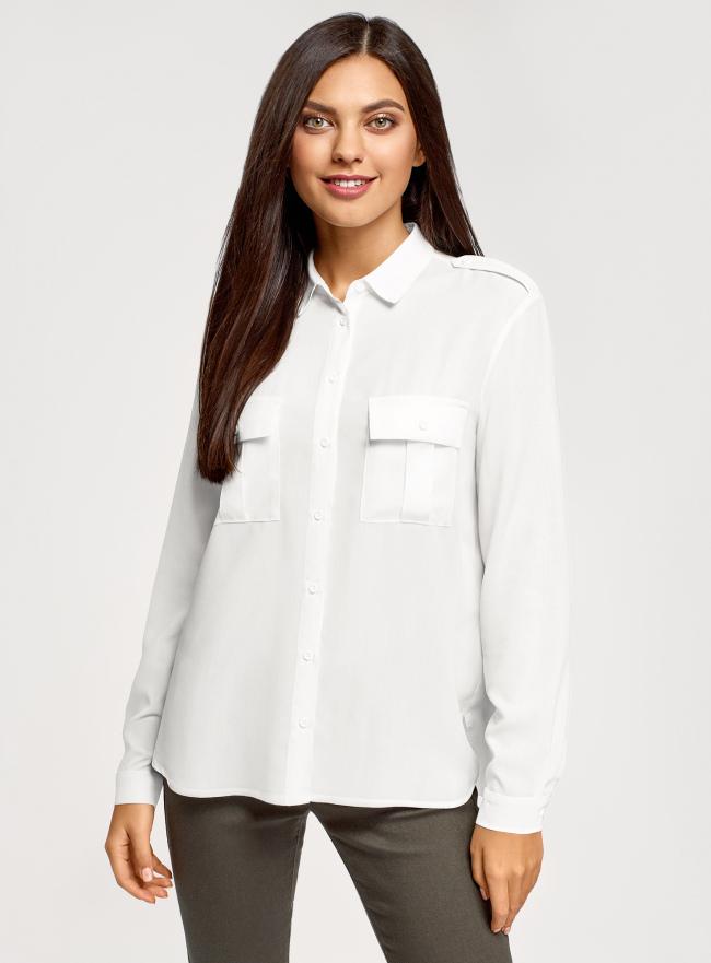 Блузка базовая из вискозы с нагрудными карманами oodji для женщины (белый), 11411127B/42540/1200N