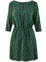Платье вискозное с рукавом 3/4 oodji #SECTION_NAME# (зеленый), 11901153-1B/42540/6919O