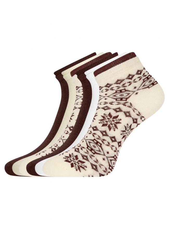Комплект носков с двойной резинкой (6 пар) oodji для женщины (разноцветный), 57102703T6/47469/10