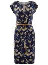 Платье трикотажное с ремнем oodji для женщины (синий), 24008033-5B/46943/7952U