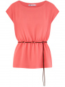 Блузка из вискозы с пояском oodji #SECTION_NAME# (красный), 11400345-5B/48756/4300N