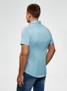 Рубашка базовая с коротким рукавом oodji для мужчины (бирюзовый), 3B240000M/34146N/7300N