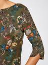 Платье принтованное прямого силуэта oodji #SECTION_NAME# (зеленый), 21900322-1/42913/6859F - вид 5