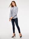 Рубашка приталенная с нагрудными карманами oodji для женщины (серый), 11403222-4/46440/1079S