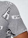 Футболка хлопковая с принтом oodji #SECTION_NAME# (серый), 5L611066I/44135N/2029G - вид 5