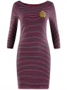 Платье трикотажное в полоску oodji для женщины (красный), 14001071-11/46148/4929S