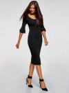 Платье облегающего силуэта с воланами на рукавах oodji для женщины (черный), 63912224/47002/2900N - вид 6