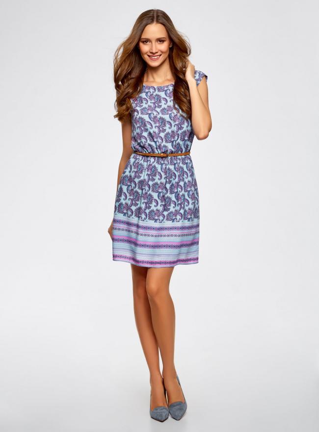 Платье вискозное с поясом oodji для женщины (синий), 11910073-3B/26346/7041E