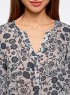 Блузка принтованная из шифона oodji #SECTION_NAME# (слоновая кость), 21401246-2M/17358/3079F - вид 4
