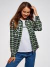 Рубашка клетчатая с нагрудными карманами oodji #SECTION_NAME# (зеленый), 13L00001-2/48869/6230C - вид 2