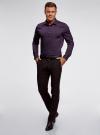 Рубашка базовая приталенная oodji для мужчины (фиолетовый), 3B140000M/34146N/8800N - вид 6