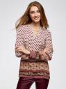 Блузка прямого силуэта с V-образным вырезом oodji #SECTION_NAME# (коричневый), 21400394-3/24681/1231E - вид 2