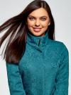 Пальто прямого силуэта из фактурной ткани oodji #SECTION_NAME# (бирюзовый), 10104043/43312/6C00N - вид 4