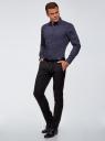 Рубашка приталенная в горошек oodji для мужчины (синий), 3B110016M/19370N/7901D