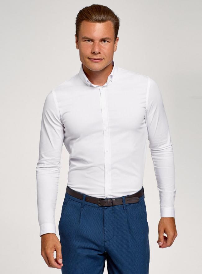 Рубашка базовая приталенная oodji #SECTION_NAME# (белый), 3B140002M/34146N/1000N