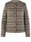 Куртка стеганая с круглым вырезом oodji для женщины (бежевый), 10204040-1B/42257/3329A
