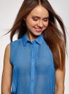Топ из струящейся ткани с рубашечным воротником oodji для женщины (синий), 14903001B/42816/7501N - вид 4