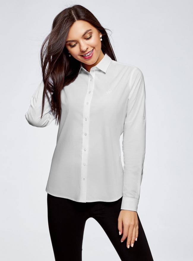 Рубашка хлопковая с вышивкой oodji для женщины (белый), 13K11008-1/43609/1000N