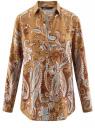 Блузка из вискозы с принтом oodji #SECTION_NAME# (бежевый), 21411144-4/26346/5762E