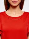 Платье с рукавами-крылышками и украшением на горловине oodji #SECTION_NAME# (красный), 21909002/42720/4500N - вид 4