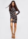 Платье трикотажное облегающего силуэта oodji #SECTION_NAME# (черный), 14000171/46148/2930O - вид 2