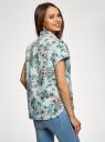 Рубашка прямого силуэта с коротким рукавом oodji #SECTION_NAME# (зеленый), 13L11021/49224/6545F - вид 3
