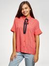 Блузка вискозная с завязками на воротнике oodji #SECTION_NAME# (розовый), 11405143/48458/4312O - вид 2