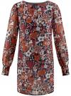 Платье прямого силуэта из струящейся ткани oodji #SECTION_NAME# (коричневый), 11900150-13/13632/3137F