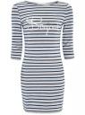 Платье трикотажное в полоску oodji #SECTION_NAME# (серый), 14001071-7/46148/2379S