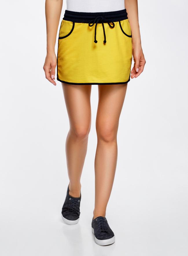 Юбка трикотажная на эластичном поясе oodji для женщины (желтый), 14101098B/46155/5179B