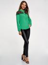 Блузка с кружевными вставками oodji для женщины (зеленый), 21401400M/31427/6D00N - вид 6