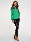 Блузка с кружевными вставками oodji #SECTION_NAME# (зеленый), 21401400M/31427/6D00N - вид 6