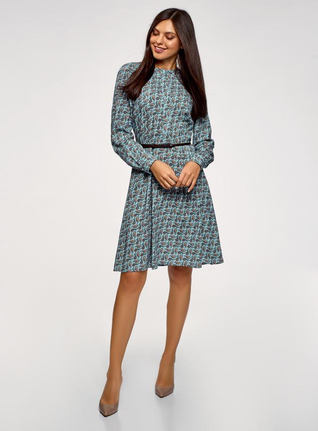 Платье вискозное с ремнем oodji для женщины (синий), 21912001-2B/26346/7031E