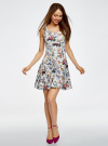 Платье трикотажное без рукавов oodji #SECTION_NAME# (белый), 14015005/45446/1019F - вид 2