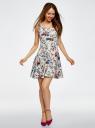 Платье трикотажное без рукавов oodji для женщины (белый), 14015005/45446/1019F