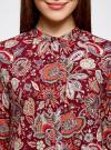 Блузка из вискозы принтованная с воротником-стойкой oodji #SECTION_NAME# (красный), 21411063-2/26346/4959F - вид 4