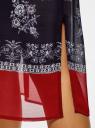 Платье шифоновое с платочным принтом oodji для женщины (синий), 21900320/42840/7931E
