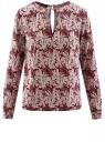 Блузка с вырезом-капелькой и металлическим декором oodji #SECTION_NAME# (красный), 21400396/38580/4912O