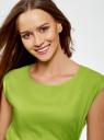 Платье вискозное без рукавов oodji #SECTION_NAME# (зеленый), 11910073B/26346/6B00N - вид 4