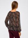 Блузка принтованная с завязками oodji #SECTION_NAME# (черный), 21418013-2M/17358/2919F - вид 3